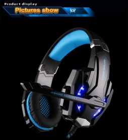 Kotion Each G9000 Gaming Headset Twisted with LED Light - Black/Blue - 2