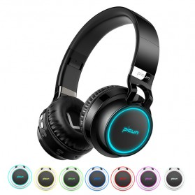 PICUN Gaming Wireless Bluetooth Headphone 7 Color Ring with TF & Mic - P60 - Black