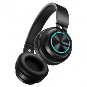 PICUN Wireless Bluetooth Headphone Glowing LED with Mic - B6 - Black