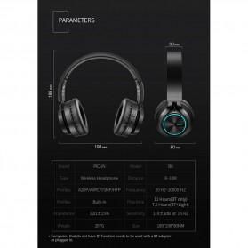 PICUN Wireless Bluetooth Headphone Glowing LED with Mic - B6 - Black - 10