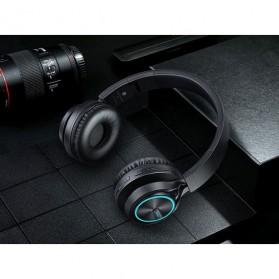 PICUN Wireless Bluetooth Headphone Glowing LED with Mic - B6 - Black - 12