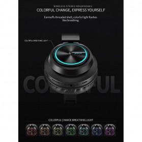 PICUN Wireless Bluetooth Headphone Glowing LED with Mic - B6 - Black - 7
