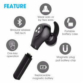 SYLLABLE Airpods Earphone Bluetooth dengan Charging Case - D9X - Black - 3