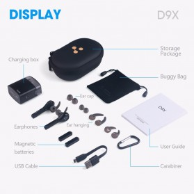 SYLLABLE Airpods Earphone Bluetooth dengan Charging Case - D9X - Black - 6