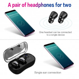 SYLLABLE Airpods Earphone Bluetooth dengan Charging Case - D900P - Black - 10