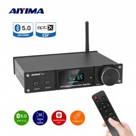 Aiyima D05 Bluetooth 5.0 Amplifier 2.1 Channel Stereo Amp Receiver with Remote - B2D2217 - Black