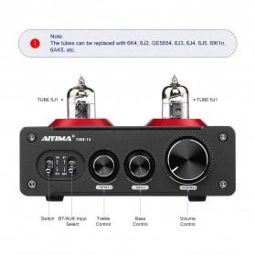 Aiyima T4 Bluetooth Amplifier Stereo 2x100W TPA3221 2x6J1 Vacuum Tube - B2D2530 - Black - 2