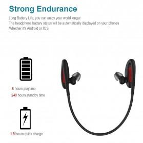 Dacom L05 Armor Sport Bluetooth Earphone Waterproof IPX7 dengan Mic - Black/Red - 2