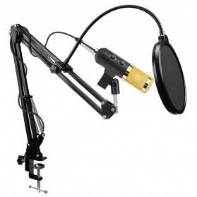 TaffSTUDIO BM-900 Paket Smule Professional Condenser Microphone Built-in Sound Card with Scissor Arm Stand NB-35 & Pop Filter - Black