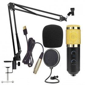 TaffSTUDIO BM-900 Paket Smule Professional Condenser Microphone Built-in Sound Card with Scissor Arm Stand NB-35 & Pop Filter - Black - 5