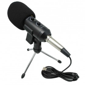 TaffSTUDIO BM-900 Professional Condenser Microphone Built-in Sound Card with Mini Tripod - Black