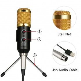 TaffSTUDIO BM-900 Professional Condenser Microphone Built-in Sound Card with Mini Tripod - Black - 6