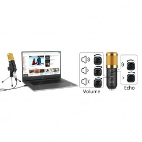 TaffSTUDIO BM-900 Professional Condenser Microphone Built-in Sound Card with Mini Tripod - Black - 9