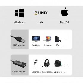 Edifier HACATE USB Sound Card External Audio Microphone 3.5mm - GS01 - Black - 9