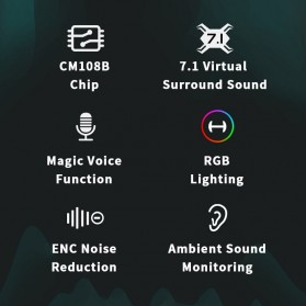 Edifier HACATE USB Sound Card External 7.1 Channel Audio Microphone 3.5mm - GS02 - Black - 3