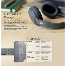 Edifier Bluetooth Headphone Headset Active Noise Cancelling - W820NB - Gray - 7