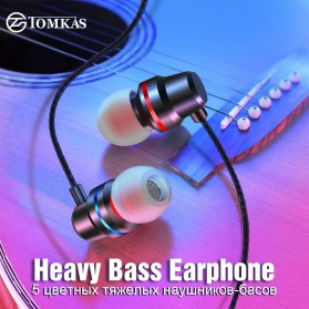 Tomkas Earphone 4D Stereo Heavy Bass with Mic - BR44 - Black