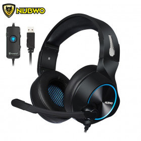 Jual PC Gaming - NUBWO Gaming Headphone Headset LED 7.1 Sound Channel with Microphone - N11 - Black