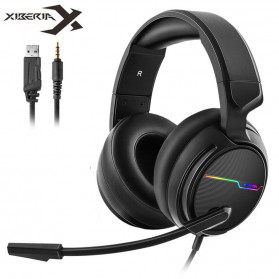 NUBWO Xiberia Gaming Headphone Headset LED 7.1 Sound Channel 3.5mm with Microphone - V20 - Black