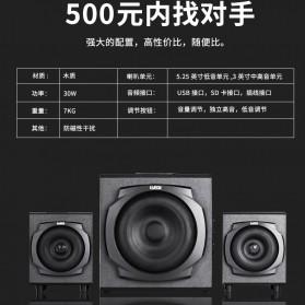 EARSON Multimedia Speaker Stereo 2.1 30W with Subwoofer - ER-2537 - Black - 7