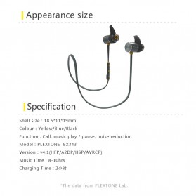 Plextone Earphone Bluetooth Sporty - BX343 - Black - 5