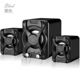 Bonks Multimedia Speaker Stereo 2.1 3D Surround with Subwoofer - K2 - Black