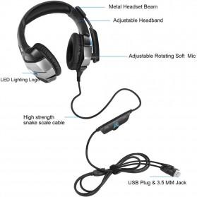ONIKUMA Gaming Headset Super Bass LED with Microphone - K5 - Black - 9