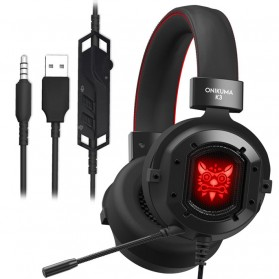 ONIKUMA Gaming Headset Super Bass RGB LED with Microphone - K3 - Black/Red - 2