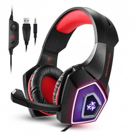 ONIKUMA Hunterspider Gaming Headset Super Bass LED with Microphone - V1 - Black/Red