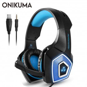 ONIKUMA Hunterspider Gaming Headset Super Bass LED with Microphone - V1 - Black/Blue