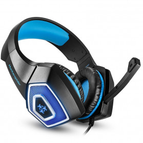 ONIKUMA Hunterspider Gaming Headset Super Bass LED with Microphone - V1 - Black/Blue - 3