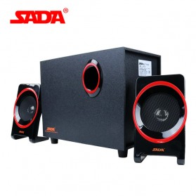 Bluetooth Speaker Aktif Komputer / Laptop - SADA SL-8018 Speaker Stereo 2.1 Wood with Subwoofer & USB Power - Black/Red