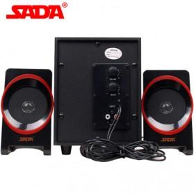 SADA SL-8018 Speaker Stereo 2.1 Wood with Subwoofer & USB Power - Black/Red - 2
