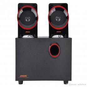 SADA SL-8018 Speaker Stereo 2.1 Wood with Subwoofer & USB Power - Black/Red - 3