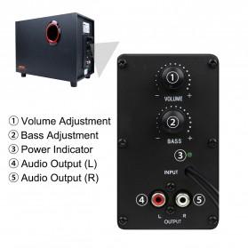 SADA SL-8018 Speaker Stereo 2.1 Wood with Subwoofer & USB Power - Black/Red - 4
