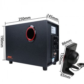 SADA SL-8018 Speaker Stereo 2.1 Wood with Subwoofer & USB Power - Black/Red - 6