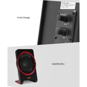 SADA SL-8018 Speaker Stereo 2.1 Wood with Subwoofer & USB Power - Black/Red - 7