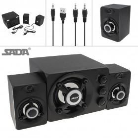 SADA Speaker Stereo 2.1 Subwoofer Surround Sound USB Power - D-208 - Black