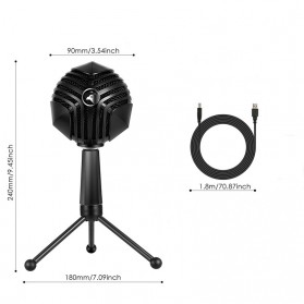 Yanmai Capsule Cardioid Condenser Microphone USB with Stand - GM-888 - Black - 6