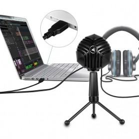 Yanmai Capsule Cardioid Condenser Microphone USB with Stand - GM-888 - Black - 9