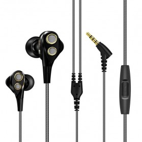 Fonge Earphone Dual Moving Coil Driver dengan Mic - R1 - Black