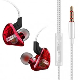 Fonge Earphone Stereo Bass Dynamic Driver dengan Mic - T01 - Red