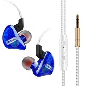Fonge Earphone Stereo Bass Dynamic Driver dengan Mic - T01 - Blue - 1