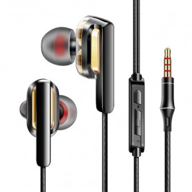 Fonge Earphone Super Bass Double Dynamic Driver dengan Mic - X3 - Black