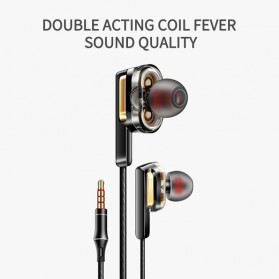 Fonge Earphone Super Bass Double Dynamic Driver dengan Mic - X3 - Black - 2