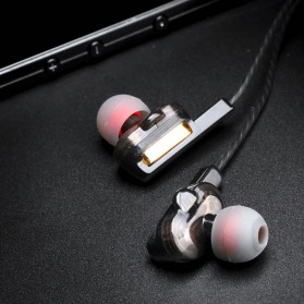 Fonge Earphone Super Bass Double Dynamic Driver dengan Mic - X3 - Black - 11