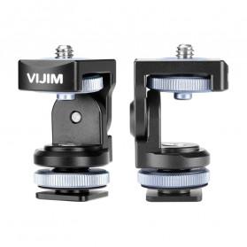 VIJIM Bracket Stand Monitor Kamera DSLR Panoramic Hot Shoe Damping PTZ Ball Head - Black