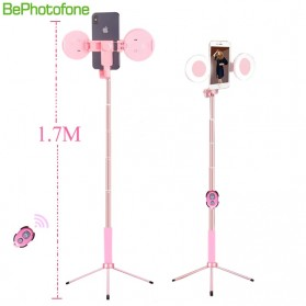 BePotofone Holder Smartphone Tripod Selfie Stick Live 1.7M with LED Ring Light & Remote Control - YLSK - Pink - 2