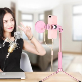 BePotofone Holder Smartphone Tripod Selfie Stick Live 1.7M with LED Ring Light & Remote Control - YLSK - Pink - 4