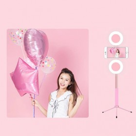 BePotofone Holder Smartphone Tripod Selfie Stick Live 1.7M with LED Ring Light & Remote Control - YLSK - Pink - 5